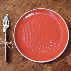 Plat bord van 23 cm van pure melamine - Rood. 2 stukken