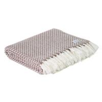 Plaid cachemire et laine petits chevrons Marron Glacé - Plaid Confort - 130 x 230 cm