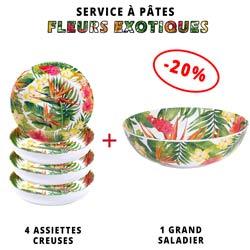 Service à pâtes mélamine: 1 saladier + 4 assiettes creuses (-20%) Thème Fleurs Exotiques