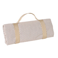 Waterproof picnic blanket beige with white polka dots (140 x 140 cm)