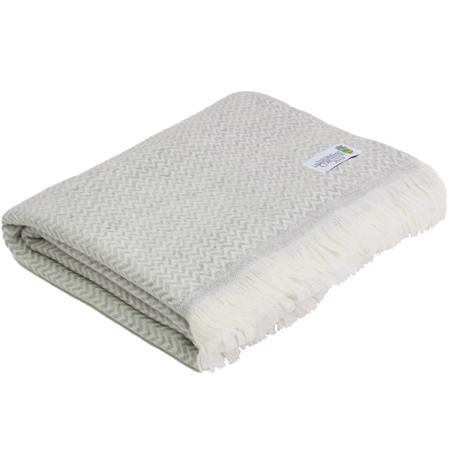 Plaid cachemire et laine Gris Argenté- Plaid Léger petits chevrons - 130 x 230 cm