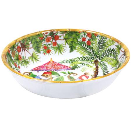 Grande piatto minestra in pura melamina - 23 cm - Scimmie di Bali
