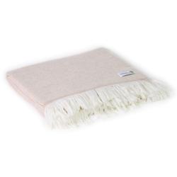 Leichte Decke aus Kaschmir und Wolle mit großes zackenmuster : kamelfarben