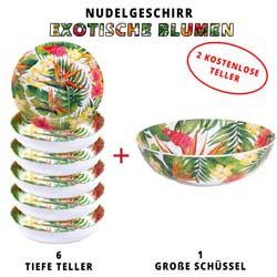 Nudelgeschirr-Set aus melamin: 1 Schüssel und 6 tiefe Pastateller (davon 2 GRATIS) Exotische Blumen