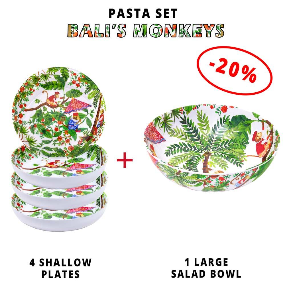 Pasta service: 1 salad bowl + 4 soup plates (-20%) Bali Monkeys Theme