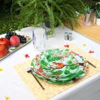 Grande assiette / Plat rond en verre trempé blanc 29,5 cm - Singes de Bali