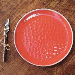 Großer flacher Teller aus reinem Melamin 27 cm - Rot, 2 Stück