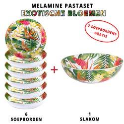 Melamine pastaset: 1 slakom + 6 soepborden (waarvan 2 GRATIS) Exotische bloemen Thema