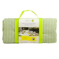 Picknickleed XXL met appelgroene ruitjes en waterdichte achterkant (280 x 140 cm)