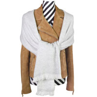 Stola / pashmina cashmere e lana con piccoli motivi a spina di pesce Grigio Argentato