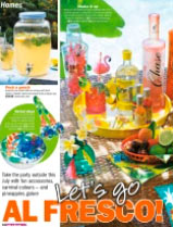 """Our """"Tropical Birds"""" plates and salad servers in Take A Break magazine"""