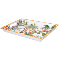 Large Rectangular Serving Tray - Bamboo-effect rim - 100% melamine - 50 cm - Bali's Monkeys
