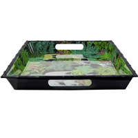 Large Rectangular Serving Tray - Bamboo-effect rim - 100% melamine - Black - 50 cm - Jungle