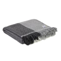 Leichte Decke aus Kaschmir und Wolle mit Diamant-Motiv : grauen und beigen Streifen