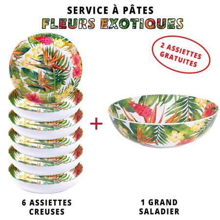 Service à pâtes mélamine: 1 saladier + 6 assiettes creuses (dont 2 GRATUITES) Thème Fleurs Exotiques