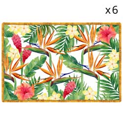 Placemat sets of 6 - Exotics Flowers theme - 45 x 30 cm