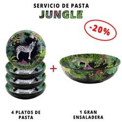Servicio de pasta de melamina: 1 ensaladera + 4 platos de pasta (-20%) Jungle