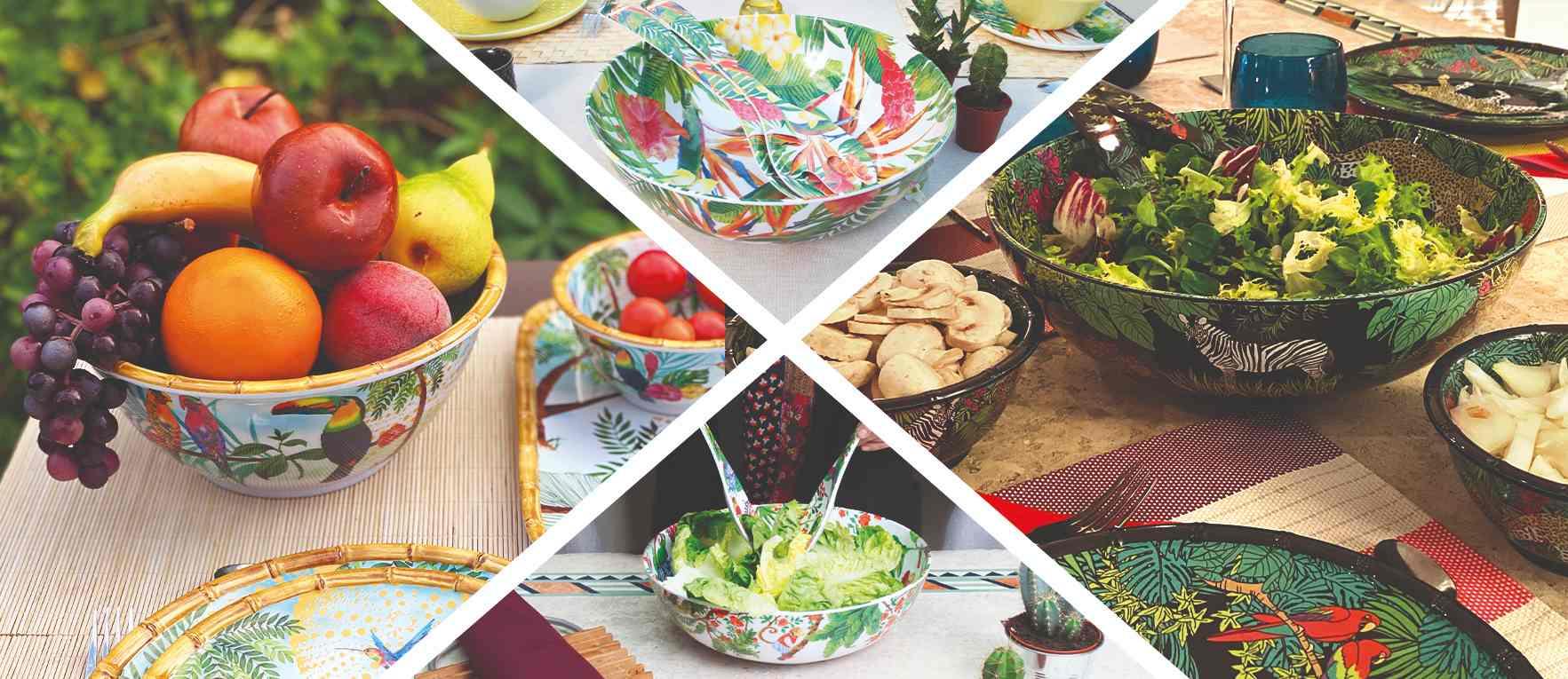 ensaladeras y de cubiertos de ensalada de melamina pura