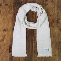 Cashmere and Wool Scarf for Men & Women - Almond Beige - Diamond pattern