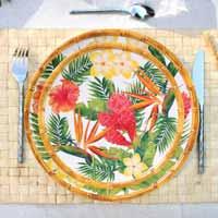 Piatto Piano Grande 28 cm in melamina quasi infrangibile – Fiori esotici