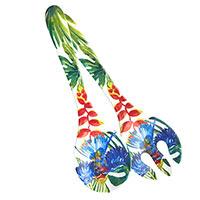 Posate da insalata in melamina quasi infrangibile – Uccelli Tropicali