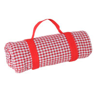 Waterproof picnic blanket red and white gingham squares (140 x 140 cm)