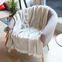 Lichte plaid kasjmier en wol zigzag: grijs - 130 x 230 cm