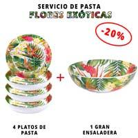 Servicio de pasta de melamina: 1 ensaladera + 4 platos de pasta (-20%) Flores Exóticas