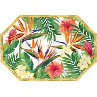 Plat de service octogonal - contour bambou - mélamine pure - 40,5 cm - Fleurs Exotiques