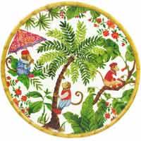 Ronde serveerschaal - bamboe rand - pure melamine