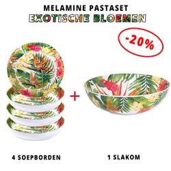 Melamine pastaset: 1 slakom + 4 soepborden (-20%) Exotische bloemen Thema