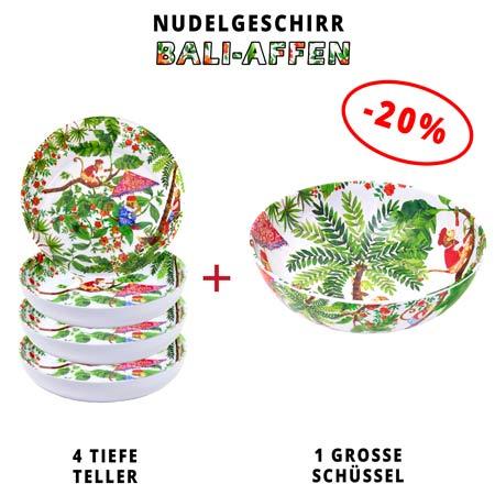 Nudelgeschirr aus Melamin: 1 Schüssel + 4 Tiefe Teller (-20%) Bali-Affen