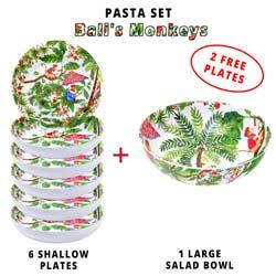 Melamine pasta set: 1 salad bowl + 6 soup plates (including 2 FREE) Bali Monkeys Theme