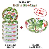Melamine pasta set: 1 salad bowl + 6 soup plates (including 2 FREE) Bali Monkeys Theme