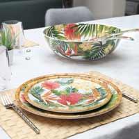 Plat bord van 23 cm van pure melamine - Exotische bloemen