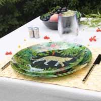 Rond bord Zwarte van gehard glas 24,5 cm - Jungle