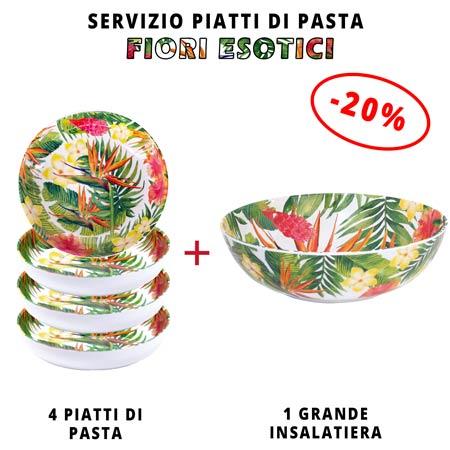 Servizio da tavola per pasta: insalatiera + 4 piatti da minestra (-20%) Fiori Esotici
