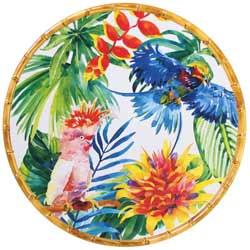 Piatto da Portata Tondo - bordi in bambù - pura melamina - 35,5 cm - Uccelli Tropicali