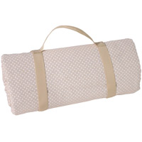 Waterproof picnic blanket beige with white polka dots XXL (140 x 280 cm)