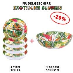 Nudelgeschirr aus Melamin: 1 Schüssel + 4 Tiefe Teller (-20%) Exotische Blumen