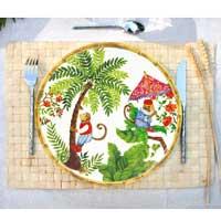 Gran plato plano de melamina pura - 28 cm - Monos de Bali