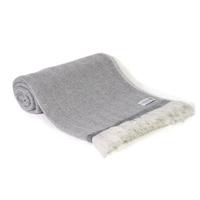 Plaid leggero cashmere e lana motivo grande chevron Grigio Antracite