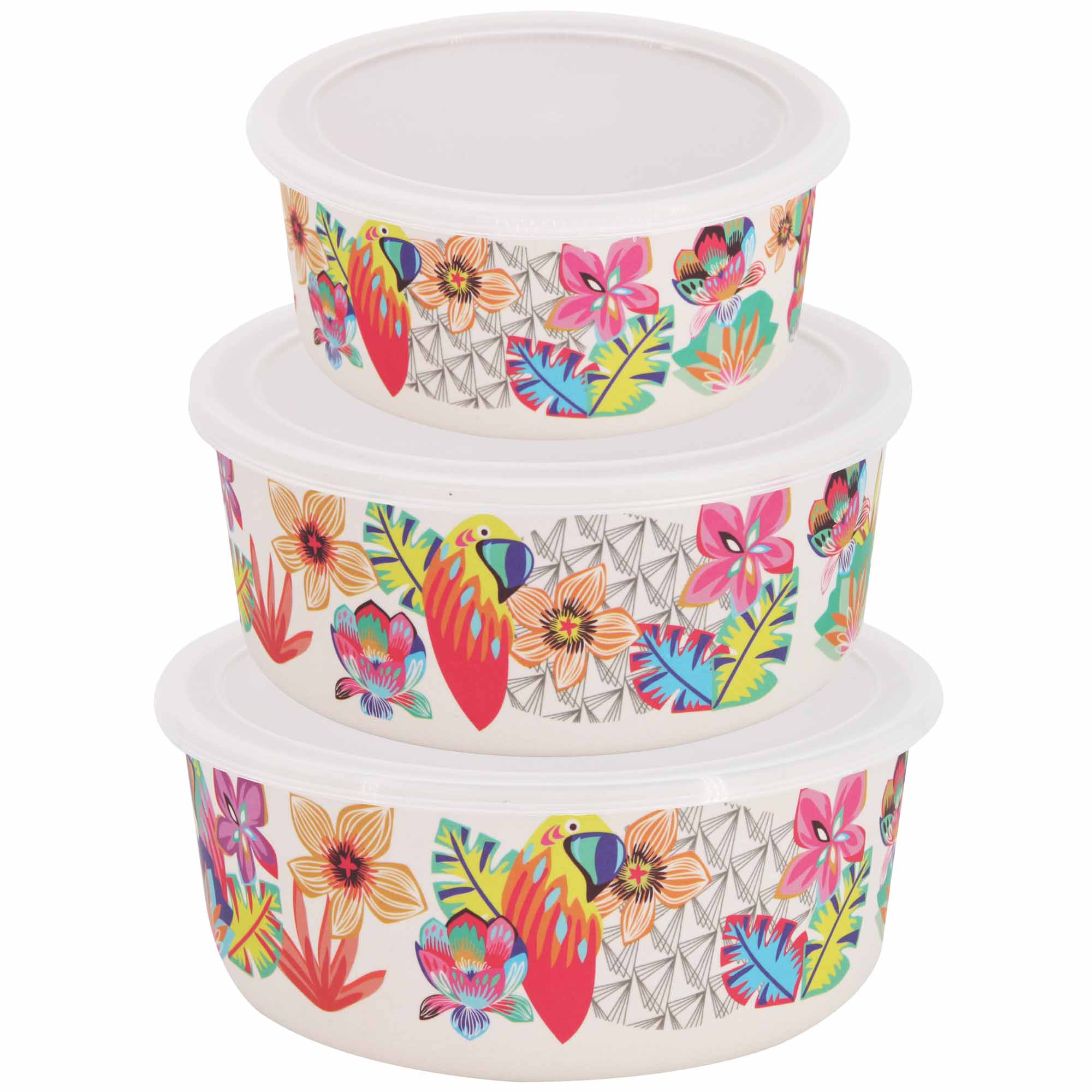 """Set of three bamboo food preservation boxes - """"Parrots"""" theme"""