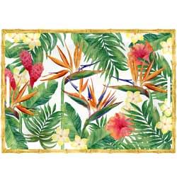 Großes bedrucktes Tablett mit Griffen - reines Melamin - 50 cm - Exotische Blumen