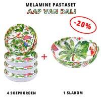 Melamine pastaset: 1 slakom + 4 soepborden (-20%) Aap van Bali Thema