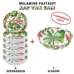 Melamine pastaset: 1 slakom + 6 soepborden (waarvan 2 GRATIS) Aap van Bali Thema
