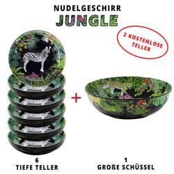 Nudelgeschirr-Set aus melamin: 1 Schüssel und 6 tiefe Pastateller (davon 2 GRATIS) Jungle
