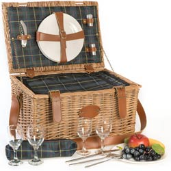 """Trianon green"" Picnic basket for 4 people"