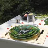 Small plate / dessert plate in tempered glass, black, 19.5 cm - Jungle
