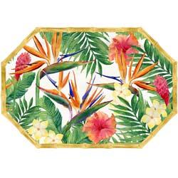 Achteckiges Tablett - mit Bambusrand - reines Melamin - 40,5 cm - Exotische Blumen